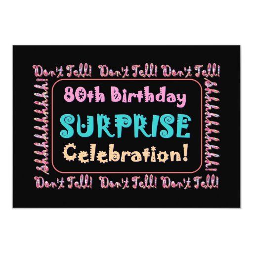80th surprise birthday party invitation template zazzle. Black Bedroom Furniture Sets. Home Design Ideas