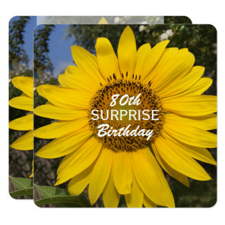 80th Surprise Birthday Party Sunflower Invitation