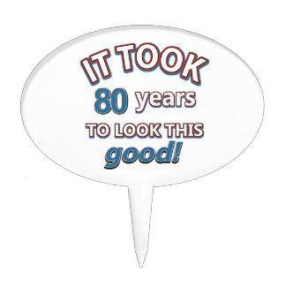 80th year birthday designs cake picks