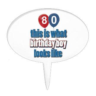 80th year birthday designs cake pick