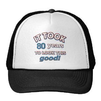 80th year birthday designs cap