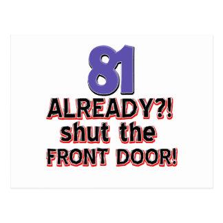 81 already? Shut the front door Postcard