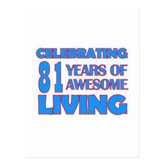 81 years old birthday designs postcard