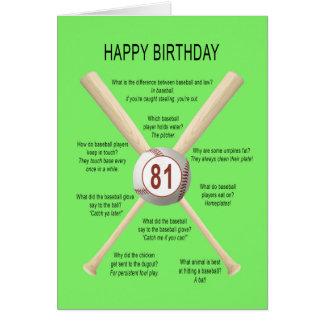 81st birthday baseball jokes card