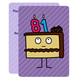 81st Birthday Cake with Candles 13 Cm X 18 Cm Invitation Card