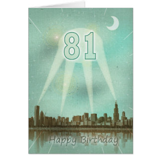 81st  Birthday card with a city and spotlights