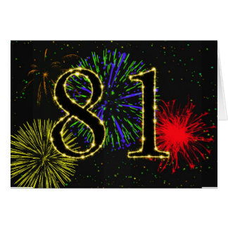 81st Birthday card with fireworks