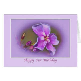 81st Birthday Card with Pink and Lavender Florals