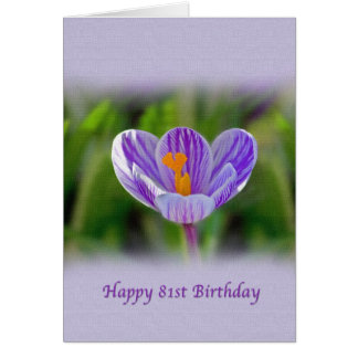 81st Birthday Card with Purple and White Flower