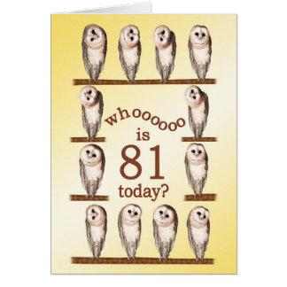 81st birthday, Curious owls card.
