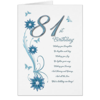 81st birthday in teal with flowers and butterfly cards