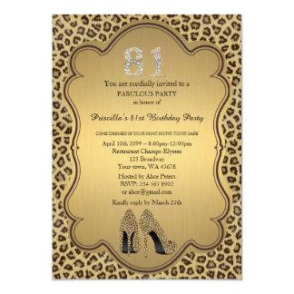 81st Birthday invitation, numbers diamonds,Cheetah 13 Cm X 18 Cm Invitation Card