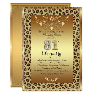 81st, Birthday Party 81st, Royal Cheetah gold plus Card