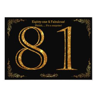 81st Birthday party,Gatsby styl,black gold glitter Card