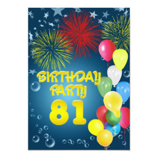 81st Birthday party Invitation with balloons