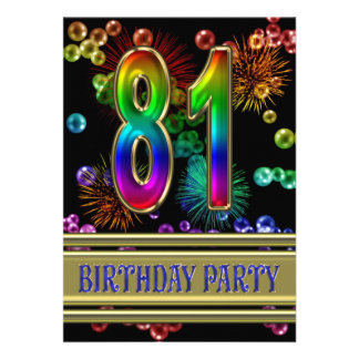81st Birthday party Invitation with bubbles