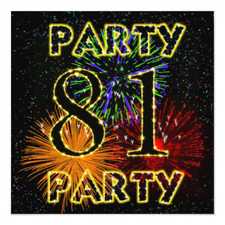 """81st birthday party invitation with fireworks 5.25"""" square invitation card"""