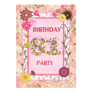 81st birthday party invitation with floral frame