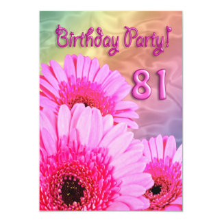 81st Birthday party invitation with pink flowers