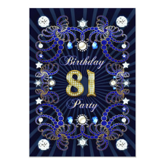 81st birthday party invite with masses of jewels