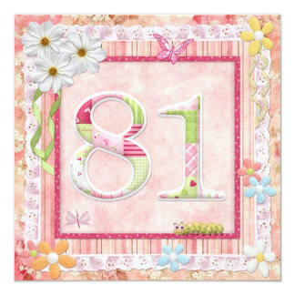 81st birthday party scrapbooking style 5.25x5.25 square paper invitation card