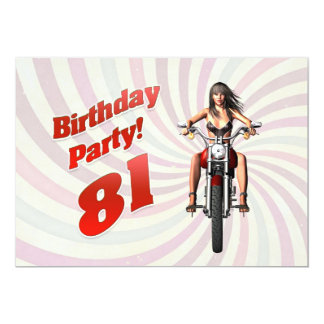 81st birthday party with a girl on a motorbike 13 cm x 18 cm invitation card