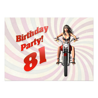 81st birthday party with a girl on a motorbike personalized invites