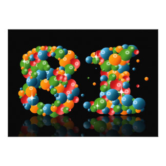 81st Birthday party, with bubbles and balls Invitations