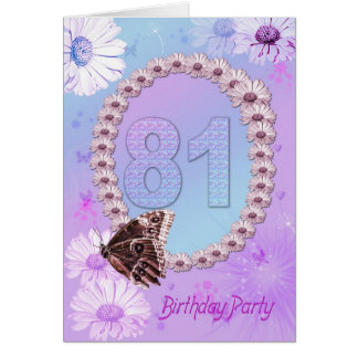 81st Bithday party Invitation Greeting Cards
