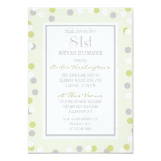 81st Green and Grey Polka Dots and Chevrons Card