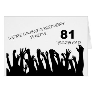 81st party invitation with a cheering crowd cards