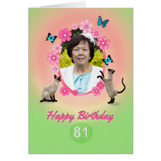 81st photo card with cats and butterflies,