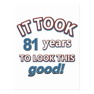 81st year birthday designs postcard