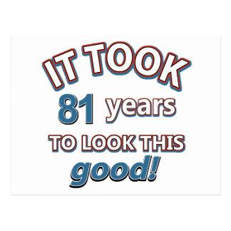 81st year birthday designs post cards