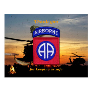 82nd airborne fort bragg lrrp vets patch postcard