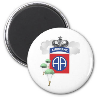 82nd Airborne, Paratroopers, Senior Jump Wings 6 Cm Round Magnet