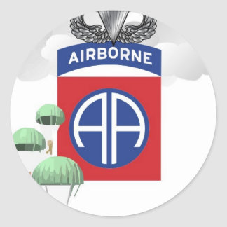 82nd Airborne, Paratroopers, Senior Jump Wings Round Sticker