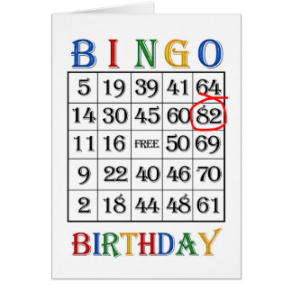 82nd Birthday Bingo card
