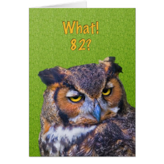 82nd Birthday Card with Great Horned Owl