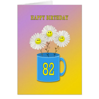 82nd Birthday card with happy smiling flowers