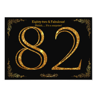82nd Birthday party,Gatsby styl,black gold glitter Card