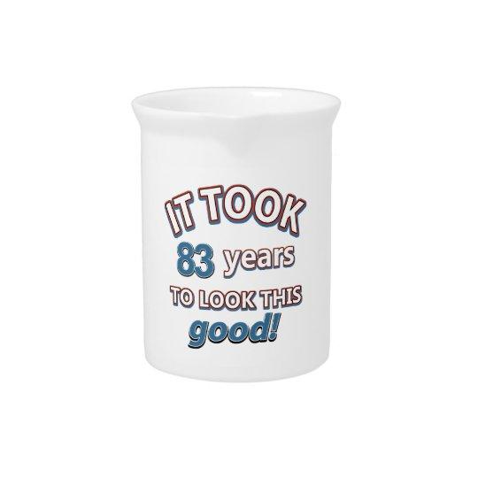 83rd birthday designs beverage pitcher