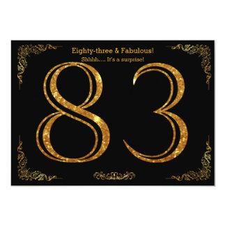 83rd Birthday party,Gatsby styl,black gold glitter Card