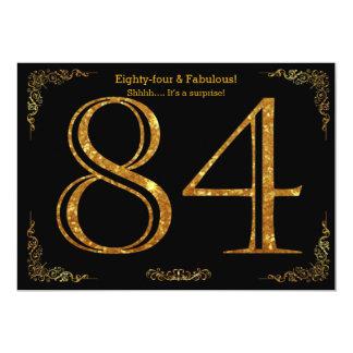 84th Birthday party,Gatsby styl,black gold glitter 13 Cm X 18 Cm Invitation Card