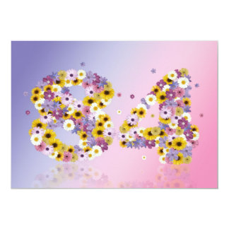 84th Birthday party, with flowered letters 5x7 Paper Invitation Card