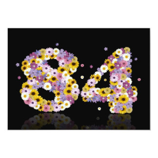 84th Birthday party, with flowered letters Custom Announcement