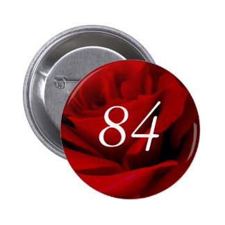 84th Birthday Red Rose Party Favour Button