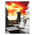 -851253 FUTURISTIC CHESS GAME FIRE BACKGROUND WALL NOTEBOOK