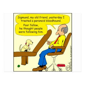 856 paranoid bloodhound cartoon postcard