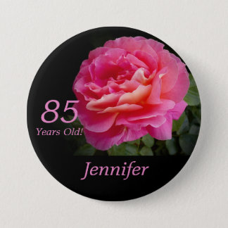 85 Years Old, Pink Rose Button Pin